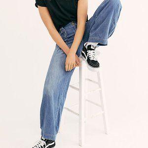 Free People Birch Denim Wide Leg Jeans Size 31